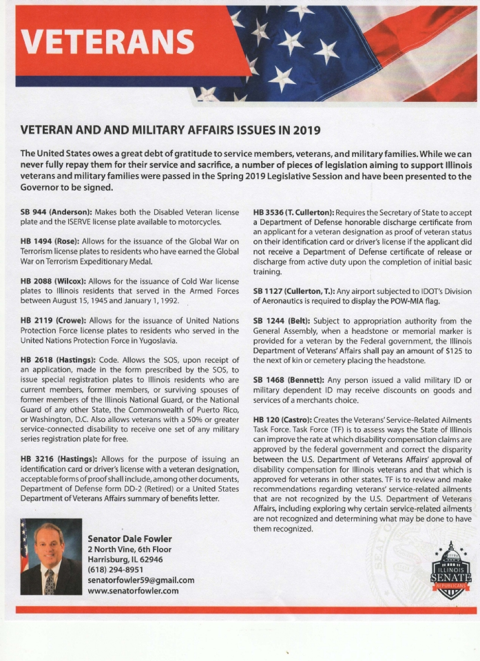 Listing of all Bills proposed in 2019 regarding Veteran and Military Affairs/Issues. This is a list of proposed Bills, some have not, and may not be, be signed into law.